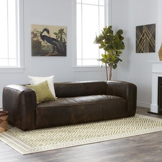 Oliver & James Diva Outback Bridle Dark Brown Leather Sofa