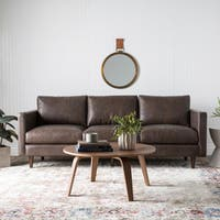 Carson Carrington Elsinore Oxford Brown Leather Sofa