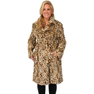 Excelled Double Breasted Animal Print Plus Women's Trench Coat
