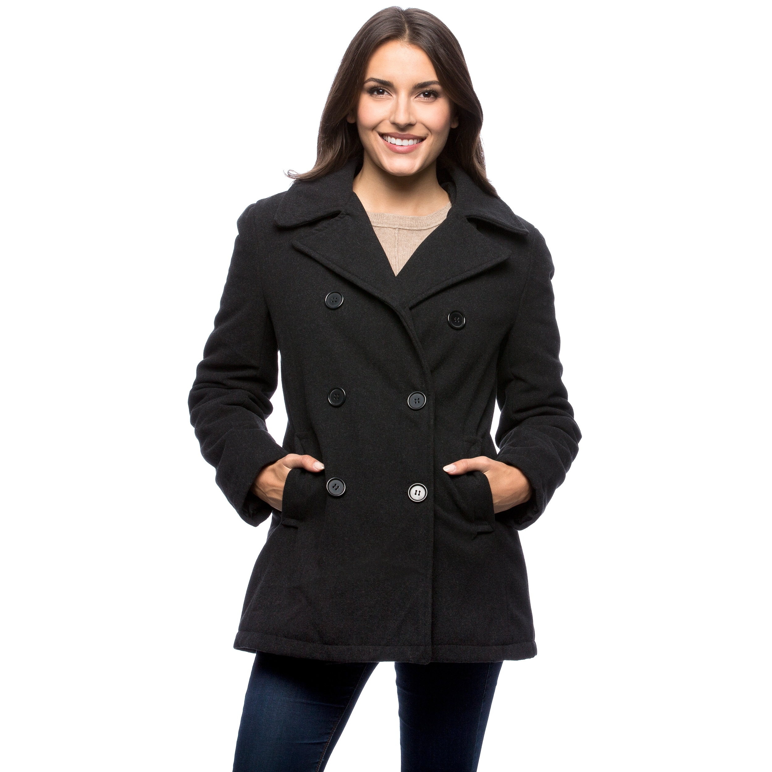 many choices of online store how to find Excelled Women's Double Breasted Pea Coat