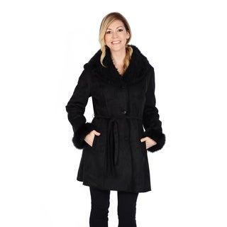 Excelled Women's Faux Shearling Belted Coat