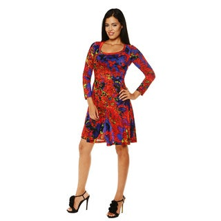 24/7 Comfort Apparel Women's Red Molten Print Long Sleeve Dress