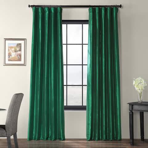 Exclusive Fabrics Emerald Green Faux Silk Taffeta Curtain Panel