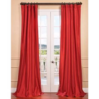 Exclusive Fabrics Hollywood Red Faux Silk Taffeta Curtain Panel