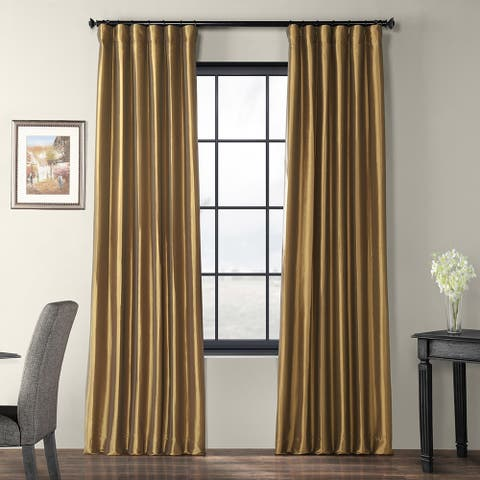 Exclusive Fabrics Gold Nugget Faux Silk Taffeta Curtain Panel