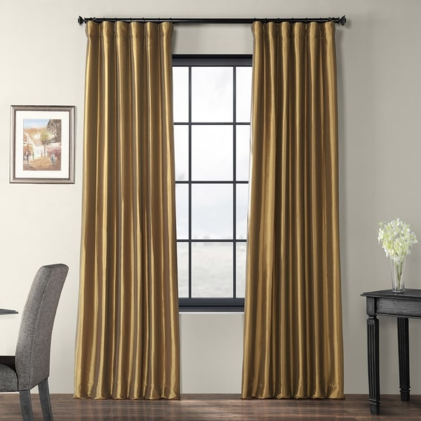 Exclusive Fabrics Gold Nugget Faux Silk Taffeta Curtain Panel. Opens flyout.