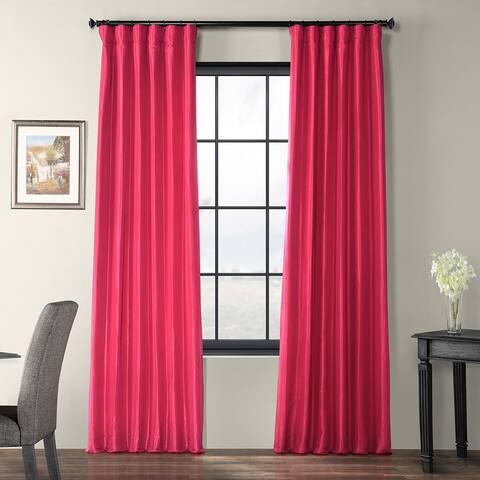 Exclusive Fabrics Fuchsia Rose Faux Silk Taffeta Curtain Panel