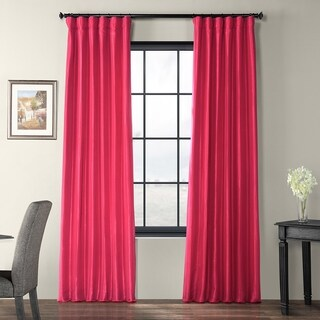 Exclusive Fabrics Fuchsia Rose Faux Silk Taffeta Curtain Panel