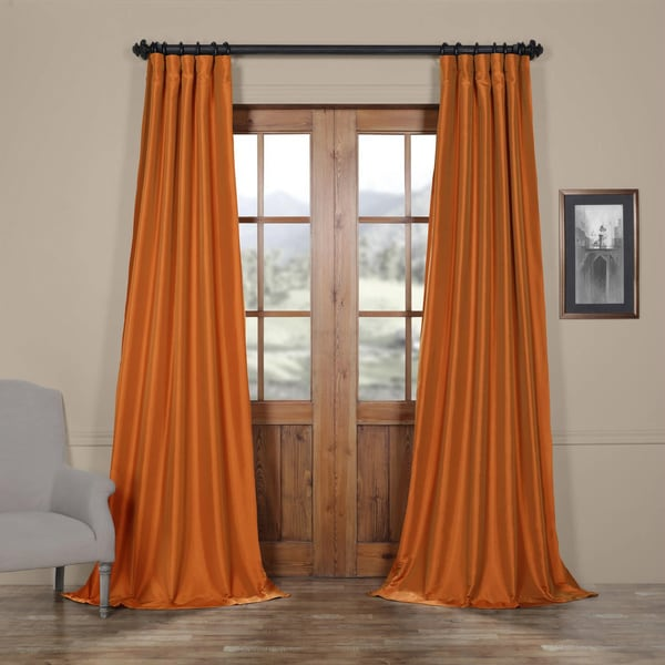Exclusive Fabrics Harvest Orange Faux Silk Taffeta Curtain