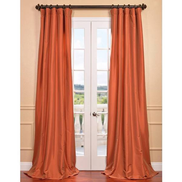 Exclusive Fabrics Harvest Orange Faux Silk Taffeta Curtain Panel