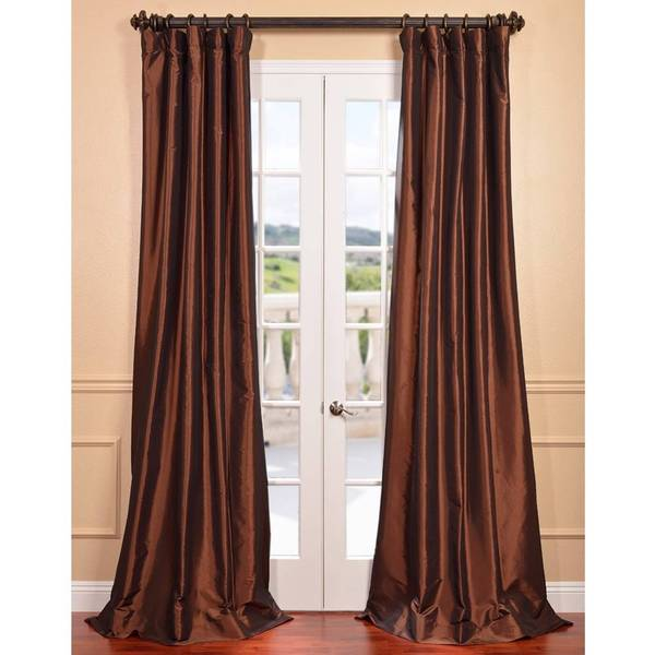 ... Burnt Orange Sheer Curtain Panels By Exclusive Fabrics Copper Brown  Faux Silk Taffeta Curtain ...