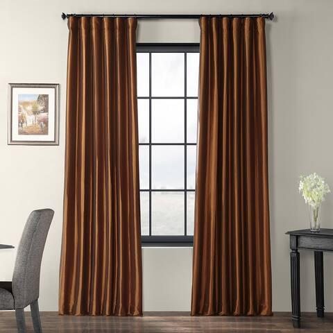 Exclusive Fabrics Copper Brown Faux Silk Taffeta Curtain Panel