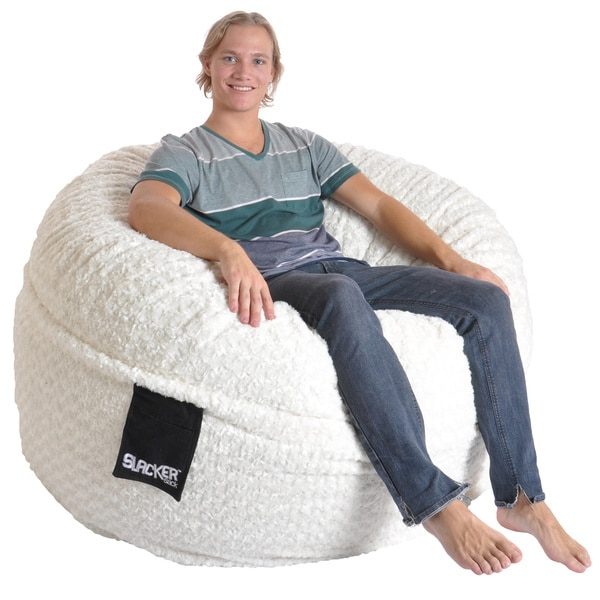 memory foam bean bag Shop Slacker Sack 5 foot Round Large Soft White Fur Memory Foam  memory foam bean bag
