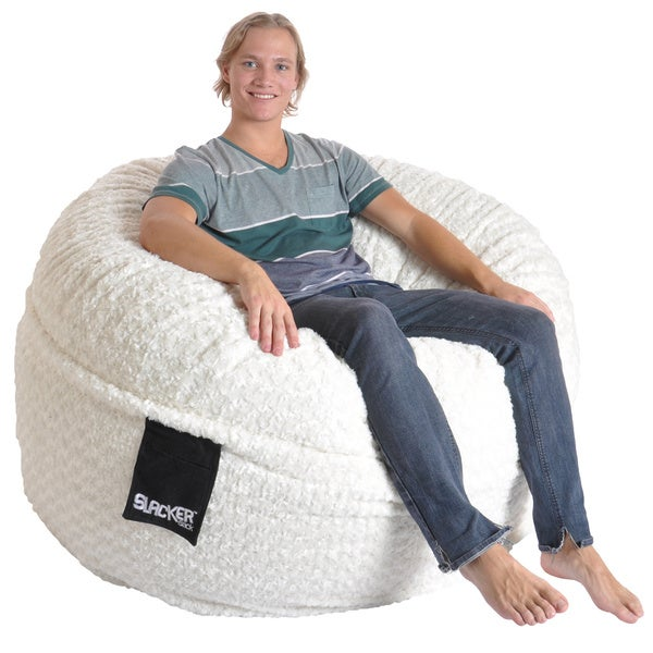 Slacker Sack 5 Foot Round Large Soft White Fur Memory Foam Bean Bag Chair
