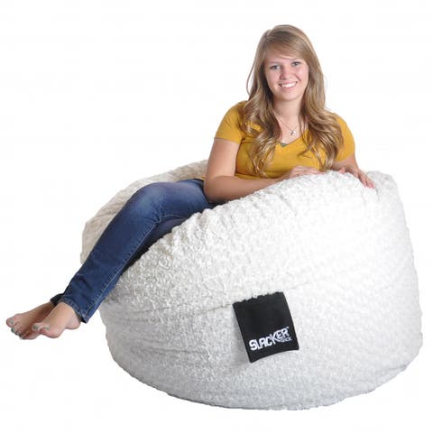 4-foot Round White Fur and Foam Large Kid Bean Bag Chair