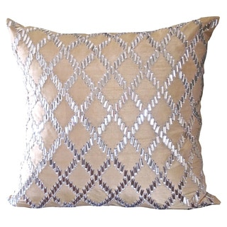 Gold Crystal Diamond Feather Filled Square Pillow