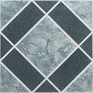 Nexus Light & Dark Blue Diamond Pattern 12x12 Self Adhesive Vinyl Floor Tile - 20 Tiles/20 sq Ft.