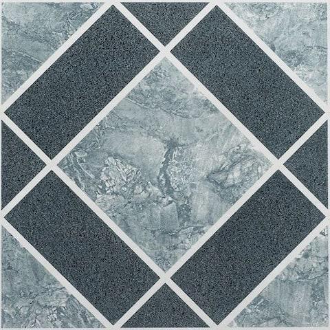 Achim Achim Nexus Light & Dark Blue Diamond Pattern 12x12 Self Adhesive Vinyl Floor Tile - 20 Tiles/20 sq. ft.