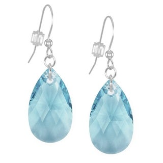 Handmade Jewelry by Dawn Large Aquamarine Crystal Pear Sterling Silver Earrings (USA)