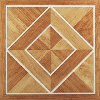 Achim Nexus White Border Classic Inlaid Parquet 12x12 Self Adhesive Vinyl Floor Tile - 20 Tiles/20 sq Ft.