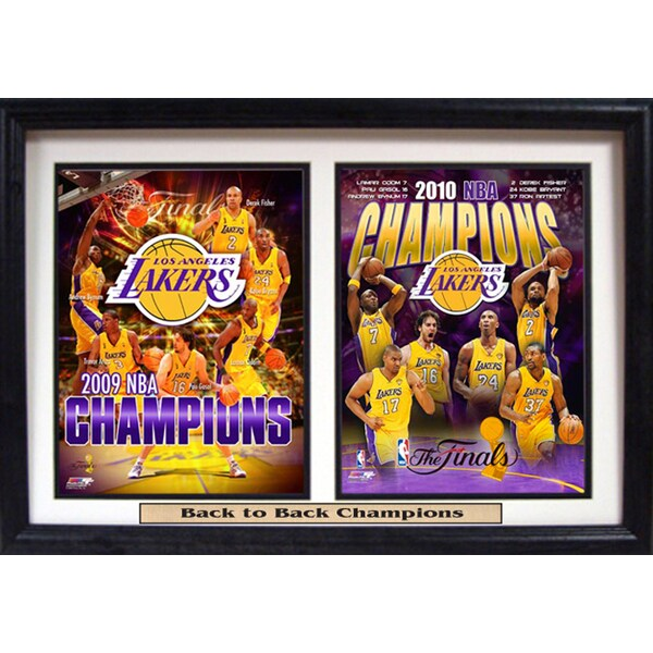 NBA Champions LA Lakers 12 X 18 Double Print Custom Frame