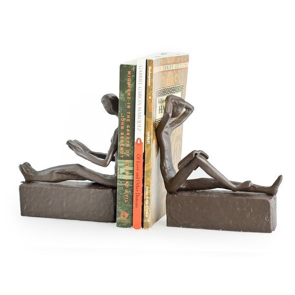 Man & Woman Reading Metal Bookend Set