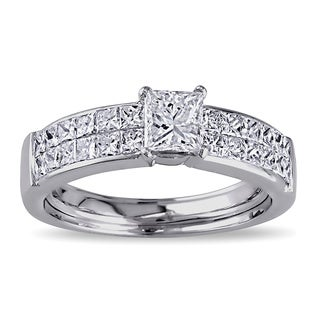 Miadora 18k White Gold 1 1/4ct TDW Princess Cut Diamond Ring