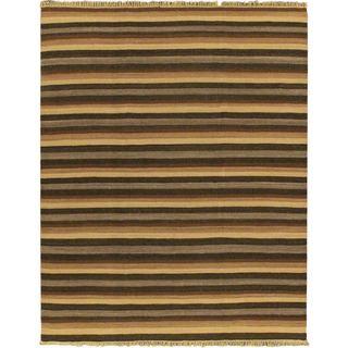 7'10x9 Hand Woven Fiesta Dark Brown Wool Rug