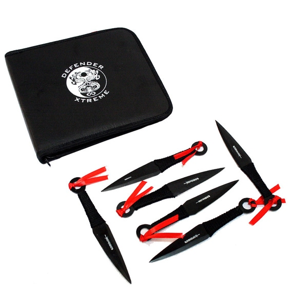 Defender Set of 12 6.5-inch Throwing Knives with Carrying Case