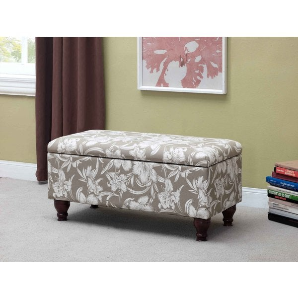 Nailhead Trim Floral Storage Bench