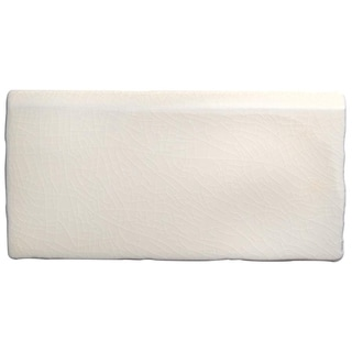 SomerTile 3 x 6-inch Artic Craquelle White Bullnose Ceramic Wall Trim Tile (Case of 5)