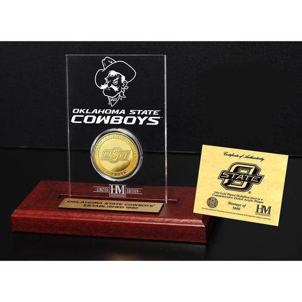 Oklahoma State University Gold Coin Etched Acrylic