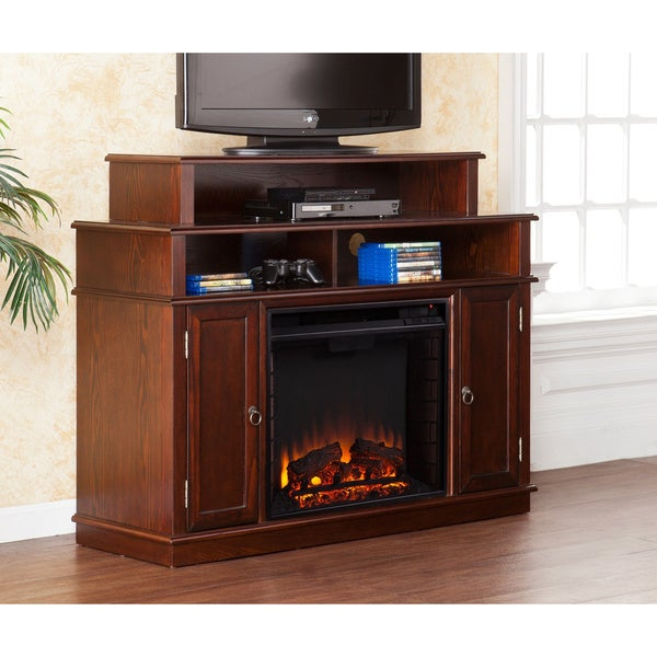 harper blvd langley espresso media console stand electric fireplace