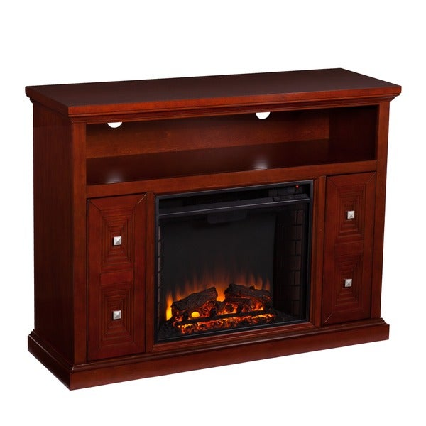 Harper Blvd Baxter Cherry Media Console/ Stand Electric Fireplace ...