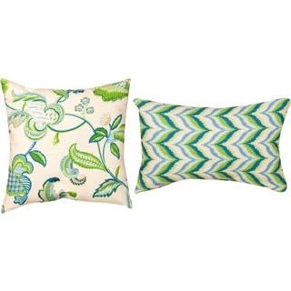 Borden/ Archer Capri Blue Indoor/ Outdoor Decorative Throw Pillows (Set of 2)