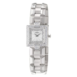 Concord Women's 'La Scala' 18k White Gold Swiss Quartz Diamond Watch with Silvertone Dial