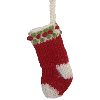 Hand-knit Alpaca Stocking Ornament (Peru)