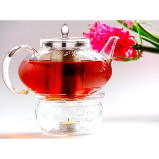 Tea Beyond Lead-free No-drip Special Glass 42oz/ 1242ml Teapot Harmony with Tea Warmer