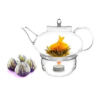 Tea Beyond 42oz/ 1242ml Teapot Harmony with Tea Warmer, Cozy and Flowering Tea 4 Blooms