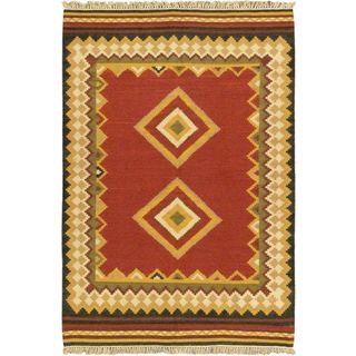 4'7x6'7 Hand Woven Ankara Kilim Red Wool Rug