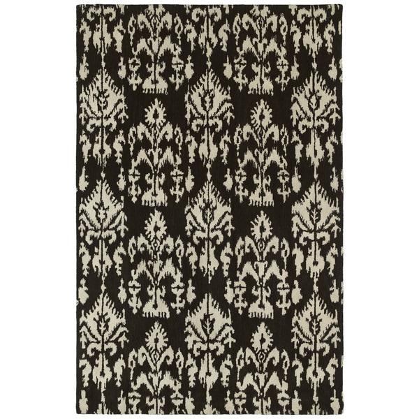 Swanky Black Ikat Wool Rug - 7'6 x 9'