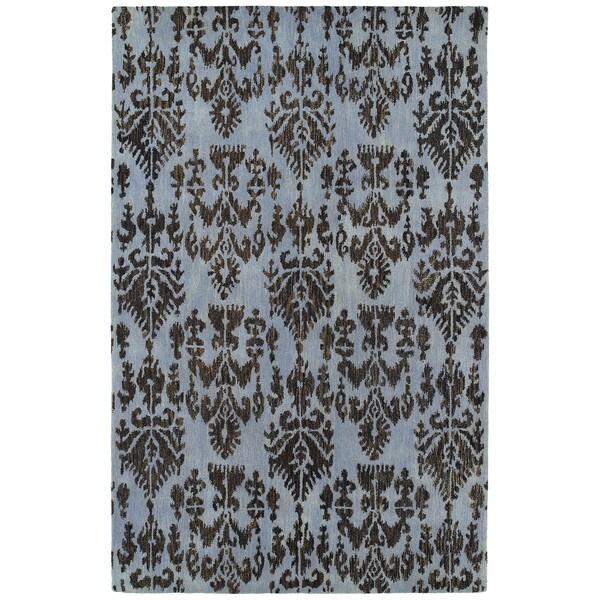 Swanky Blue Ikat Wool Rug - 5' x 7'6
