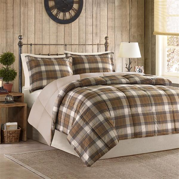 Woolrich Lumberjack Multi Clic Quilting Soft And Cozy Microfiber Solid Reverse Down Alternative Comforter Set