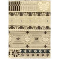 Hand Woven Istanbul Yama Kilim Cream Wool Rug - 5'8 x 7'10