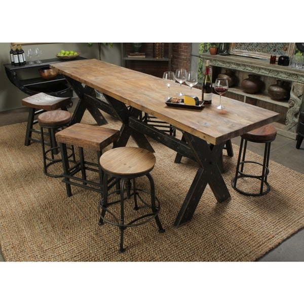 Isabella Distressed Wood Gathering Table Free Shipping