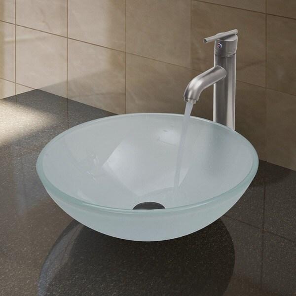 VIGO White Frost Vessel Bathroom Sink and Brushed Nickel Faucet Set ...