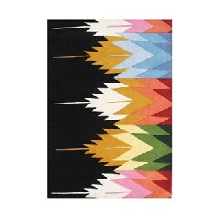Handmade Black New Zealand Blend Wool Rug (9' x 12')