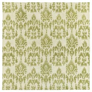 Swanky Green Ikat Wool Rug (7'9 x 7'9 Square)
