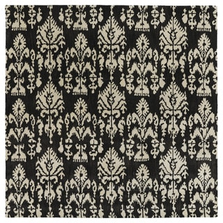 Swanky Black Ikat Wool Rug (7'9 x 7'9 Square)