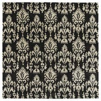 Swanky Black Ikat Wool Rug - 7'9 x 7'9